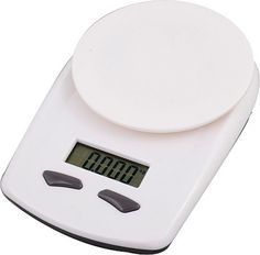 This is a plastic white kitchen scale and it weighs in kilograms, grams, pounds and ounces. Features include a LCD display and comes packaged in a gift box