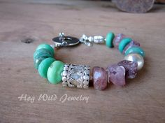 Pink+Turquoise+Sterling+Silver+Asymmetrical+by+hogwildjewelry,+$84.00