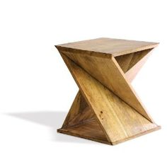 Foreside Twisted Wood Table, 21-Inch