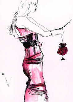 Elizabeth Kelley fashion illustration.