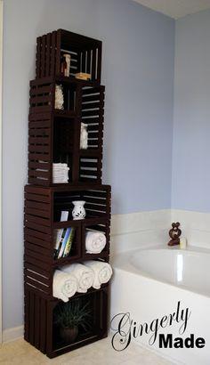 Someday Crafts: Wooden Crate Linen Closet
