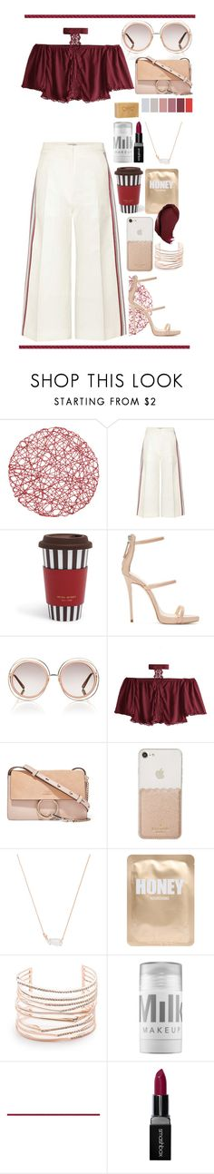 """Red and Rose Gold"" by biscuitatlas ❤ liked on Polyvore featuring Hillier Bartley, Henri Bendel, Giuseppe Zanotti, Chloé, Kate Spade, Kendra Scott, Lapcos, Alexis Bittar, MILK MAKEUP and Smashbox"