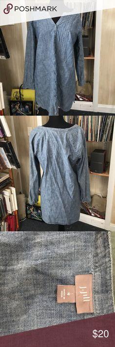 J. Jill denim tunic shirt/dress medium The bust is 40 inches. The length is 34 inches. Looks like brand-new condition. Lightweight. J. Jill Dresses Mini