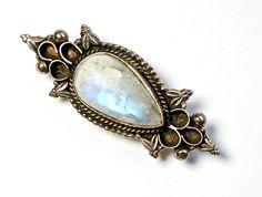 Antique Moonstone Brooch Sterling Victorian by silvermoonstars