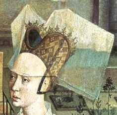 "Dierick Bouts called ""Justice of the emperor Otton III"" 1460 ---- QUESTION = Is this what the base of a heart shaped hennin looks like? Moda Medieval, Medieval Hats, Medieval World, Medieval Costume, Medieval Fashion, Renaissance Hut, Robert Campin, Middle Ages Clothing, Historical Costume"