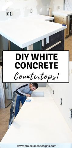 DIY white concrete countops: This tutorial is packed with tons of tips and a step by step process to guide you through creating your very own white concrete countertops on a budget! DIY White Concrete Countertops Source by projectallendesigns White Concrete Countertops, Tile Countertops, Concrete Kitchen Countertops, Countertop Options, Home Design, Design Ideas, Interior Design, Home Improvement Projects, Home Projects