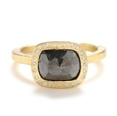 Todd Reed gray fancy cut diamond ring with white brilliant diamond halo, set in recycled yellow gold, at Greenwich Jewelers  $8360