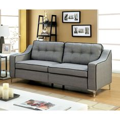 Sylvanas Contemporary Tufted Fabric Sofa By Furniture of America (Black)