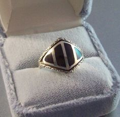 Vintage Sterling Onyx Ring Inlay Designer by LynnHislopJewels
