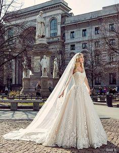 eddy k milano bridal 2017 sleeveless sweetheart lace ball gown wedding dress (md197) fv train veil
