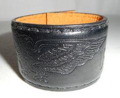 USA Eagle Black Leather Cuff Bracelet by honeyblossomstudio