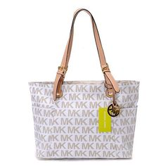 Online Sale Michael Kors Jet Set Logo Large Vanilla Totes With Excellent Design For You!