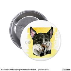 Black and White Staffy Dog Watercolor Painting Button. Great gift for dog lovers.