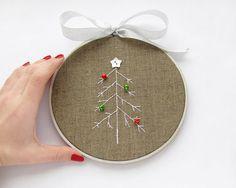 #Embroidered hoop wall art #Christmas tree by VasilinkaStore on Etsy