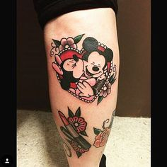 Adorable Mickey and Minnie done by @twelveseconds #inkeddisney