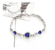* Penny Deals * - Gift for the Loved Lovely Women Girl Heart of the Ocean Crystal Bracelets Rhinestone Bangle Chain Deep Blue >>> You can find out more details at the link of the image.