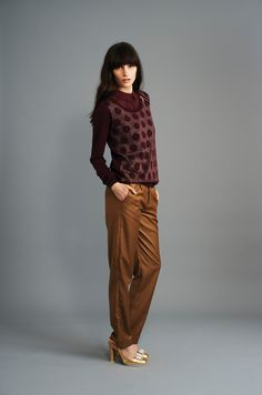 PULL MATRIONA BORDEAUX CHINÉ TOP TELENA PRUNE PANTALON PALEMA TABAC