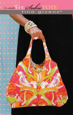 Tina Givens Printed patterns  flowered  purse bag  sewing