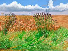 DAVID HOCKNEY: Wheatfields off Woldgate, 2006 David Hockney Artwork, David Hockney Landscapes, Robert Rauschenberg, Edward Hopper, Contemporary Artists, Modern Art, Pop Art Movement, Arte Pop, Outdoor Art