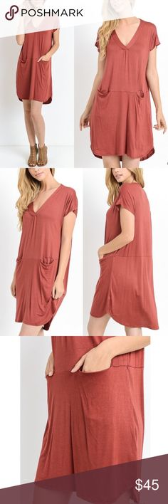 🆕ARANA solid v-neck dress w/ pockets - MARSALA Solid, short sleeve v-neck dress w/ front pockets. Unlined. Non-sheer. Lightweight.   -Model is 5'8'' and is wearing a Small.  AVAILABLE IN MARSALA AND BLACK.  MADE IN THE USA  🚨🚨PRICE FIRM, NO TRADE🚨🚨 Bellanblue Dresses