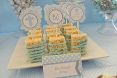 First Communion Dessert Table - Pretty My Party Communion Centerpieces, First Communion Decorations, Communion Favors, Baby Boy Baptism, Baptism Party, Baptism Ideas, Baptism Favors, Souvenirs Ideas, Ideas Bautizo