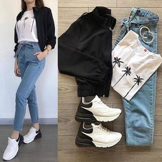 PROMO FOR DM - A G A T H A sur Instagram : Which one ? @ootd.agatha ♥️ Simple Outfits, Classy Outfits, Trendy Outfits, Cute Outfits, Girls Fashion Clothes, Winter Fashion Outfits, College Outfits, Outfits For Teens, Terno Casual
