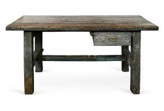 Painted wood plank-top table with one drawer and straight legs joined by stretchers, circa 1840.