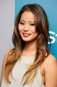 Jamie Chung- sparse highlights on top ombre on the bottom.