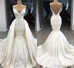 A: The wedding dress does not include any accessories such as gloves, wedding veil and the crinoline petticoat ( show on the pictures). Backless Mermaid Wedding Dresses, Wedding Dress Low Back, Wedding Dresses Plus Size, Dream Wedding Dresses, Bridal Dresses, Wedding Gowns, Detachable Wedding Dress, Wedding Attire, Weddings