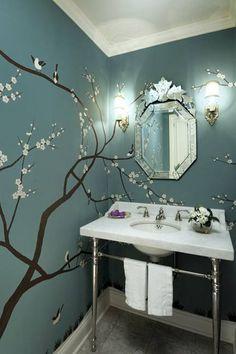 bathrooms - sakura tree mural blue walls venetian mirror marble washstand polished nickel sconces faucet Beautiful powder room design with sakura Modern Interior Design, Home Design, Wall Design, Design Ideas, Design Design, Design Hotel, Luxury Interior, Creative Design, Design Bedroom