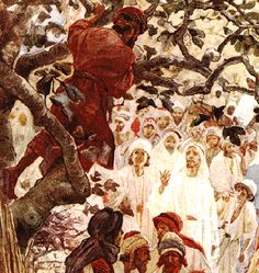 Pictures of Zacchaeus - The Tiny Man Who Stood Tall Christian Images, Christian Love, Bible Pictures, Art Pictures, Jesus Christ Painting, Zacchaeus, Thy Will Be Done, Jesus Heals, Bible Illustrations