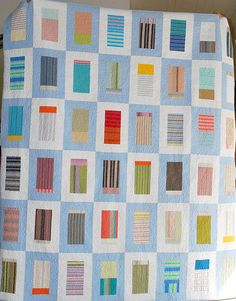 Stripes in frames lap quilt by Bekhy, via Flickr