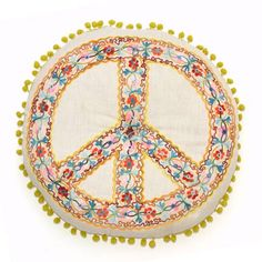 "Get some Peace, get Connected to Fair Trade! Round 16"" Cotton Peace Pillow"