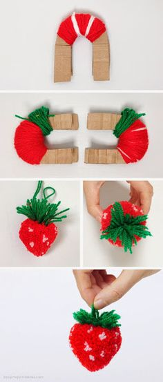 DIY Strawberry Pom Pom Tutorial (Under my crochet board because of the yarn) Kids Crafts, Cute Crafts, Diy And Crafts, Arts And Crafts, Cute Diy, Pom Pom Crafts, Yarn Crafts, Pom Pom Diy, Diy Projects To Try