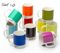 My hubby doesn't like coffee, but these are some mugs he could get behind, cuz he's nerdy, and these are wonderfully nerdy.  For color/type geeks everywhere!