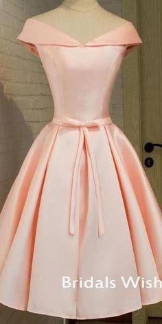 f67dafdcf56 Elegant Pink Satin Off-shoulder Lace Up Homecoming Dress EW0105 –  bridalswish  homecomingdresses