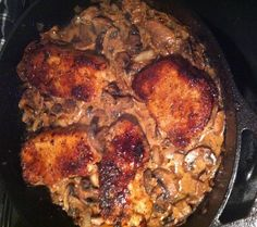 Black Iron Skillet Chops with Mushrooms and Tennessee Whiskey Sauce.  Men love this dish and so will everyone else. Serve with a green vegetable such as roasted asparagus or green beans and you've got a delicious and impressive dinner for your sweetie or guests.