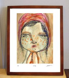 SALE// Cecily  A4 sized quirky illustration Print by peachpatrol