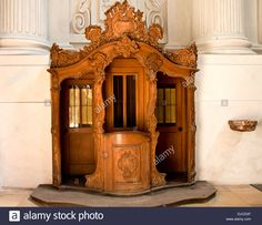 Ancient wooden carved confessional booth in Theatine Church, Munich - Germany Stock Photo Munich Germany, Confessions, Drama, Carving, Doors, Stock Photos, Google Search, Image, Furniture