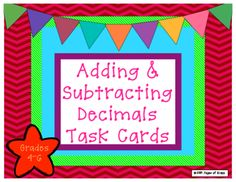 Adding & Subtracting Decimals Task Cards from Pages Of Grace on TeachersNotebook.com -  - Set of 32 task cards for adding and subtracting decimals. Student response sheets and answer key are included. These are relevant math problems that vary from simple to more advanced.