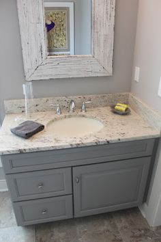 Easy Way To Paint Your Bathroom Cabinets Pinterest Painted - White bathroom vanity with gray top