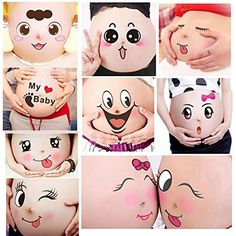TAFLY 10 Sheets Facial Expressions Pregnancy Baby Bump Belly Stickers Maternity Week Stickers * Continue to the product at the image link.
