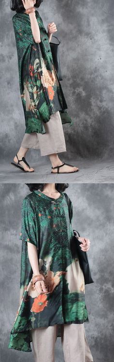new green silk dresses plus size Chinese Button cardigans