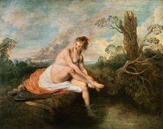 WATTEAU, Jean-Antoine  Diana at her Bath  1715-16