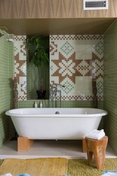 Clever tile mosaic mimics the look of a traditional Nordic sweater.