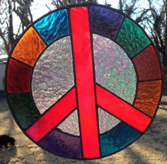 Stained Glass Peace Sign Colorful Suncatcher by PeaceLuvGlass, $45.00