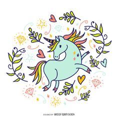 Unicorn doodle with decorations - Vector download