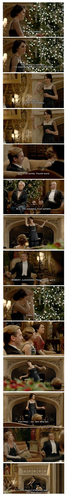 Book title charades in the Downton Abbey Christmas Special - The Tenant of Wildfell Hall, by Anne Bronte