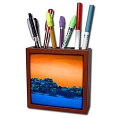 Orange and blue colors on this mountain view Tile Pen Holder