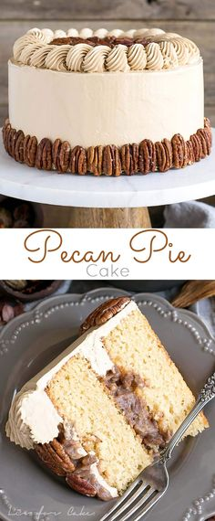 This Pecan Pie Cake is perfect for your holiday get-togethers! Brown sugar cake layers and buttercream filled with traditional pecan pie filling. | livforcake.com via olivia  | liv for cake